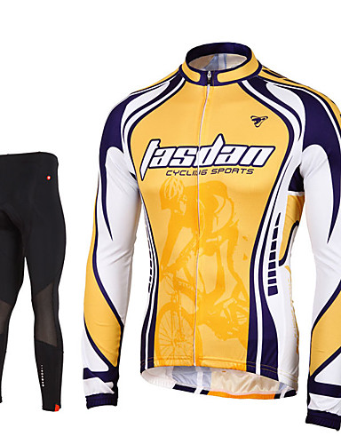 cheap Cycling Clothing-TASDAN Men's Long Sleeve Cycling Jersey with Tights Yellow Solid Color Bike Pants / Trousers Jersey Tights Breathable 3D Pad Quick Dry Reflective Strips Back Pocket Winter Sports Elastane Solid Color