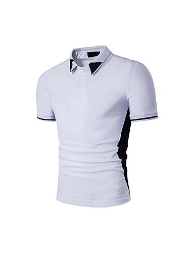 Homens Camiseta Estampado Algodão Colarinho de Camisa