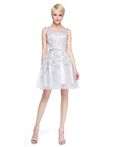 A-Linie U-Ausschnitt Knie-Länge Spitze Tüll Brautjungfernkleid mit Applikationen durch LAN TING BRIDE®