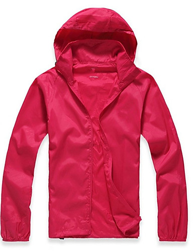 cheap Cycling Clothing-Men's Women's Unisex Solid Color Hiking Jacket Outdoor Spring Summer Thermal / Warm Breathable Quick Dry Ultraviolet Resistant Top Camping / Hiking Hunting Cycling / Bike Rose Red / Green / Pink