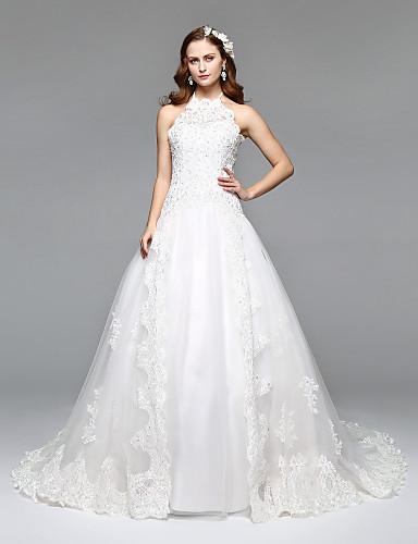 A-linje / Prinsesse Grime Hoffslep Blonder / Tyll Egendefinerte brudekjoler med Blonder av LAN TING BRIDE®