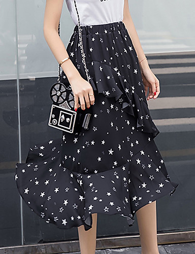 Women's Daily Going out Midi Skirts Trumpet/Mermaid Rayon Geometric Spring Summer