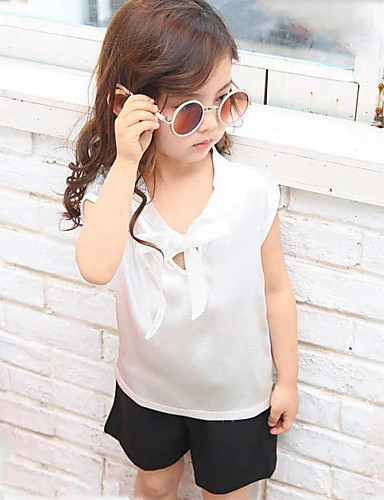 Girls' Solid Patchwork Sets,Polyester Summer Sleeveless Clothing Set
