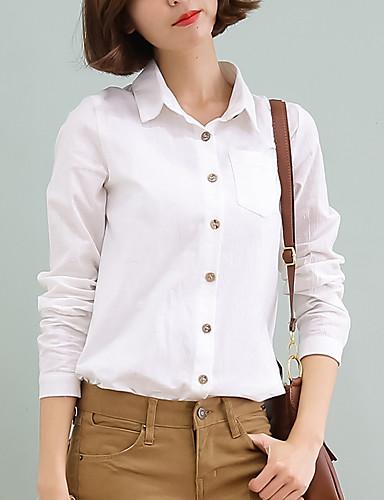 Damen Solide Einfach Anspruchsvoll Lässig/Alltäglich Arbeit Hemd,Hemdkragen Frühling Herbst Langarm Baumwolle Kunstseide Polyester Dünn