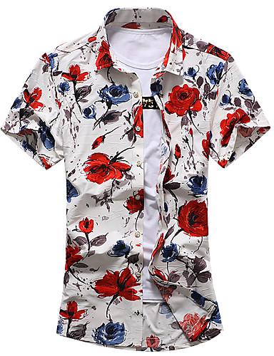 Homens Tamanhos Grandes Camisa Social Floral Algodão Colarinho Clássico