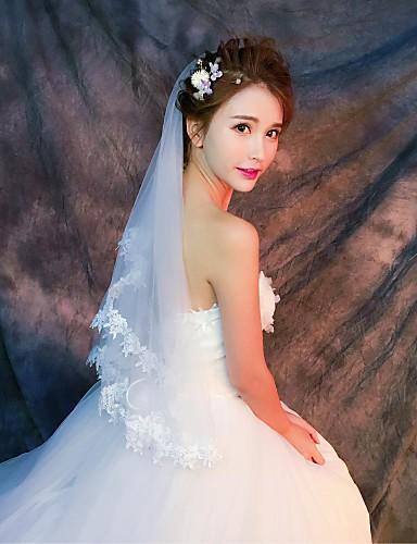One-tier Lace Applique Edge الحجاب الزفاف Elbow Veils / Fingertip Veils مع زينة دانتيل / تول / كلاسيكي