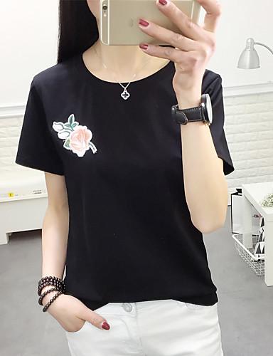 여성 자수장식 라운드 넥 짧은 소매 티셔츠,스트리트 쉬크 캐쥬얼/데일리 면
