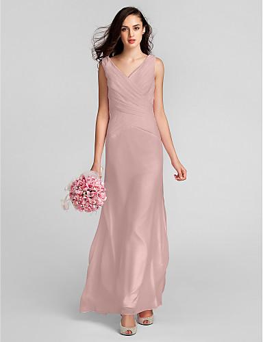 رخيصةأون الاشبينات تصفية-عامودي V رقبة طول الأرض شيفون فستان الاشبينة مع متصالب بواسطة LAN TING BRIDE®