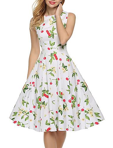 Mulheres balanço Vestido Floral Cintura Alta