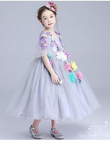 Plesové šaty K lýtkům Šaty pro květinovou družičku - Organza Poloviční rukáv Klenot s Aplikace Květiny Sklady podle