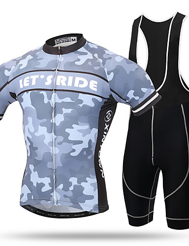 cheap Cycling Clothing-XINTOWN Men's Short Sleeve Cycling Jersey with Bib Shorts - Yellow Camo / Camouflage Bike Jersey Bib Tights Breathable 3D Pad Quick Dry Reflective Strips Sweat-wicking Sports Elastane Camo / Stretchy