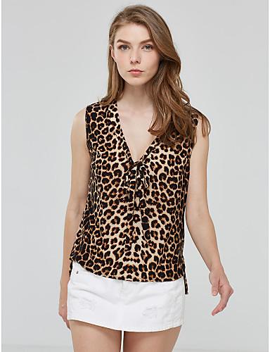 Naisten V kaula-aukko T-paita, Leopardi