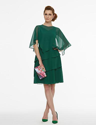 A-linje V-hals Kort / mini Chiffon Todelt Cocktailparty Kjole med Plissé ved TS Couture®