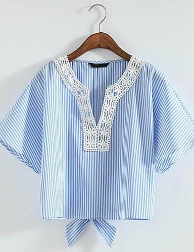 여성 줄무늬 V 넥 짧은 소매 블라우스,단순한 섹시 스트리트 쉬크 데이트 캐쥬얼/데일리 면 여름 얇음 중간