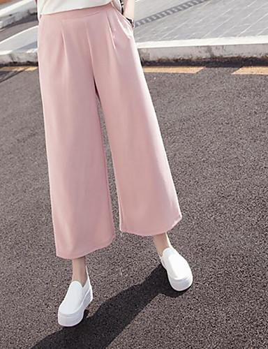 Damen Street Schick Hohe Hüfthöhe Unelastisch Chinos Breites Bein Hose einfarbig