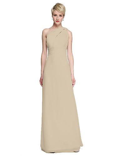b15d045ad76 Sheath   Column One Shoulder Floor Length Chiffon Bridesmaid Dress with  Sash   Ribbon   Side Draping   Ruched by LAN TING BRIDE®