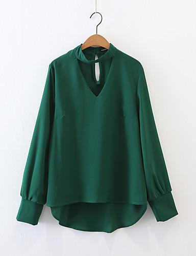여성 솔리드 홀터 넥 긴 소매 티셔츠,단순한 섹시 스트리트 쉬크 데이트 캐쥬얼/데일리 면 여름 얇음 중간
