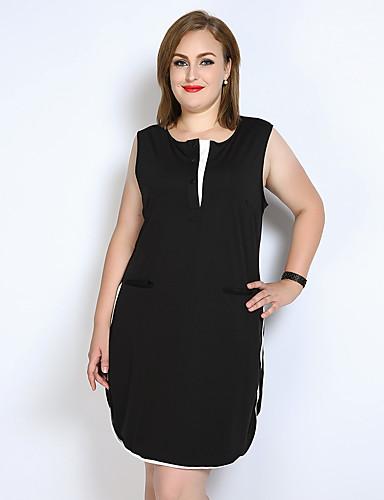 فستان نسائي قياس كبير فضفاض / كلاسيكي عصري / أسود وأبيض طول الركبة ألوان متناوبة