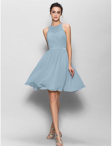 abordables robe invitée mariage-Trapèze Bijoux Mi-long Georgette Robe de Demoiselle d'Honneur  avec Ceinture / Ruban / Plissé par LAN TING BRIDE®