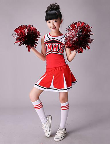voordelige Shall We®-Cheerleaderpakjes Outfits Prestatie Katoen / Spandex Gesplitst Mouwloos Hoog Top / Rok