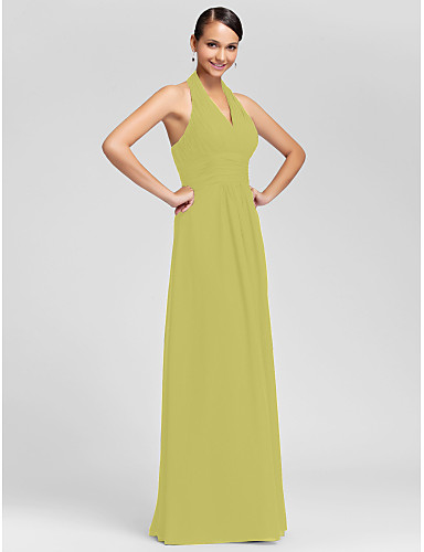 c03cd8af8ae Sheath   Column V Neck   Halter Neck Floor Length Chiffon Bridesmaid Dress  with Draping   Criss Cross   Ruched by LAN TING BRIDE®