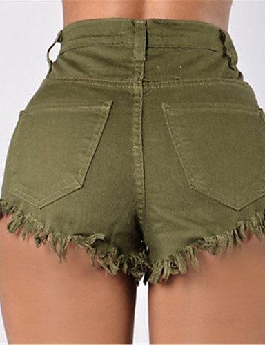 Damen Sexy Street Schick Tiefe Hüfthöhe Mikro-elastisch Kurze Hosen Schlank Hose,Reine Farbe einfarbig
