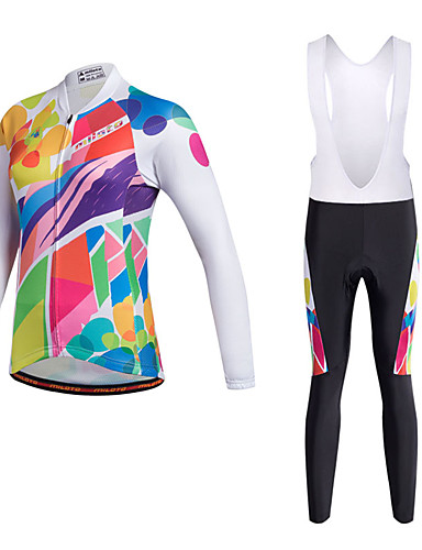 cheap Cycling Clothing-Miloto Women's Long Sleeve Cycling Jersey with Bib Tights - Black Bike Clothing Suit Breathable 3D Pad Quick Dry Reflective Strips Sweat-wicking Sports Polyester Lycra Painting Mountain Bike MTB Road