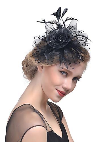 povoljno Ukrasi za kosu-Žene Kentucky Derby Šešir Culori solide Mesh Opeka Perje