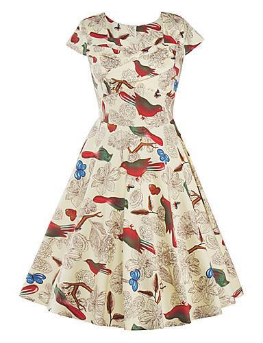 Mulheres Vintage Algodão Evasê Vestido - Estampado Altura dos Joelhos