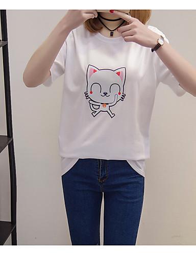 여성 애니멀 프린트 라운드 넥 짧은 소매 티셔츠,심플 캐쥬얼/데일리 면
