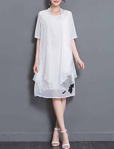 여성용 일상 데이트 프린트 칼집 무릎길이 드레스 라운드 넥 짧은 소매 여름 가을 낮은 밑위 실크
