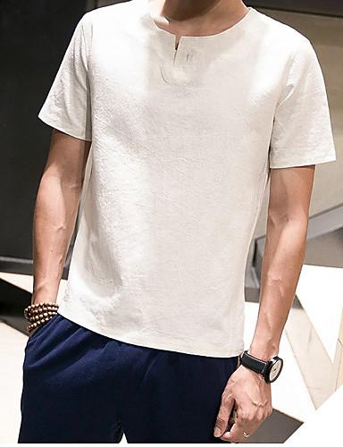 남성 솔리드 라운드 넥 짧은 소매 티셔츠,심플 캐쥬얼/데일리 그외
