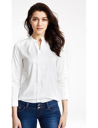 Жен. Рубашка, V-образный вырез Однотонный
