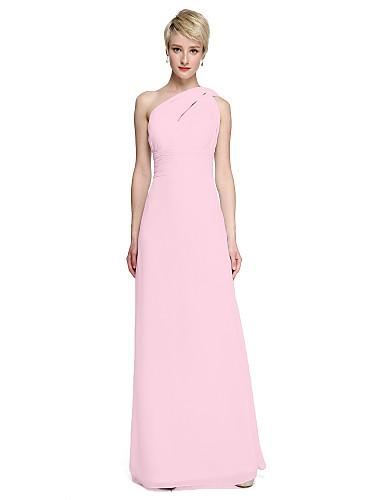 7fb577db6e1b Ίσια Γραμμή Ένας Ώμος Μακρύ Σιφόν Φόρεμα Παρανύμφων με Ζώνη   Κορδέλα   Πλαϊνό  ντραπέ   Πιασίματα με LAN TING BRIDE®