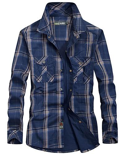 5a9ac88e87 Hombre Manga Larga Camisa para senderismo Al aire libre Primavera Cómodo  Top Algodón Verde de selva Azul Marino Oscuro Pesca