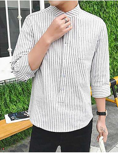 남성 줄무늬 셔츠 카라 긴 소매 셔츠,심플 캐쥬얼/데일리 레이온