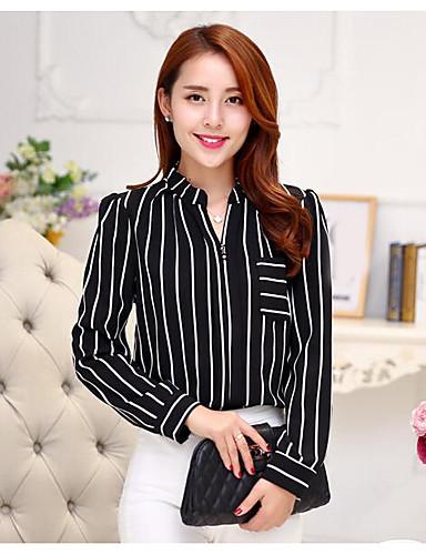 billige Dametopper-Skjortekrage Skjorte Dame - Stripet Hvit / fin Stripe