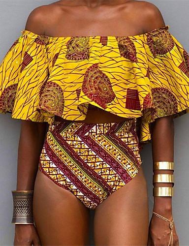 Mulheres Ombro a Ombro Boho Bandeau Biquíni - Geométrica, Estampado Cintura Alta