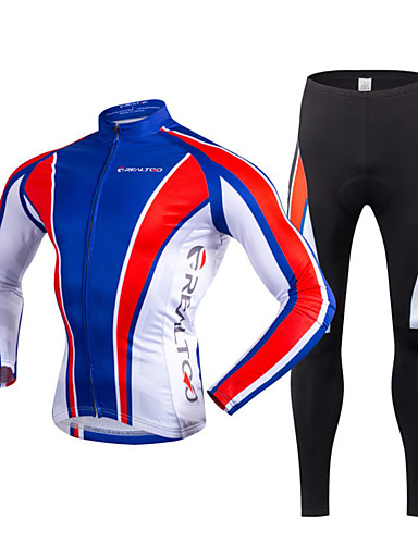 cheap Cycling Clothing-Realtoo Men's Long Sleeve Cycling Jersey with Tights - Blue / White Bike Clothing Suit Thermal / Warm Fleece Lining Breathable 3D Pad Quick Dry Winter Sports Polyester Lycra Classic Clothing Apparel