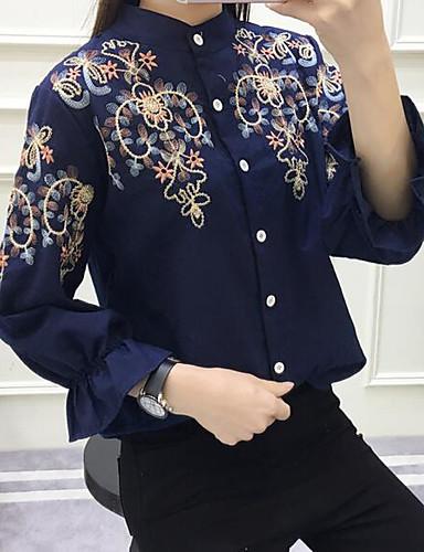 여성 프린트 셔츠 카라 긴 소매 셔츠,단순한 캐쥬얼/데일리 면 얇음