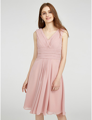 d4d0c5af2f14 A-Line V Neck Knee Length Chiffon Bridesmaid Dress with Side Draping /  Criss Cross / Ruched by LAN TING BRIDE®