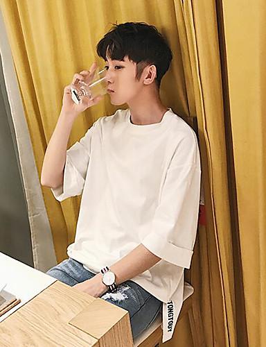 남성 솔리드 문자 라운드 넥 짧은 소매 티셔츠,심플 캐쥬얼/데일리 면 여름 얇음
