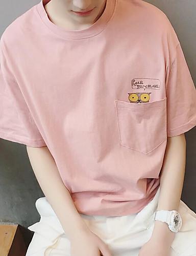 남성 프린트 라운드 넥 티셔츠,심플 캐쥬얼/데일리 면