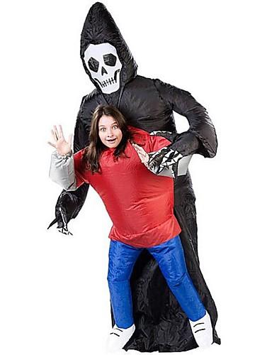 billige Halloween- og karnevalkostymer-Skjelett / Kranium Grim Reaper Cosplay Kostumer Halloween Utstyr Maskerade Herre Dame Film-Cosplay Trikot / Heldraktskostymer Air Blower Halloween Karneval Barnas Dag polyester