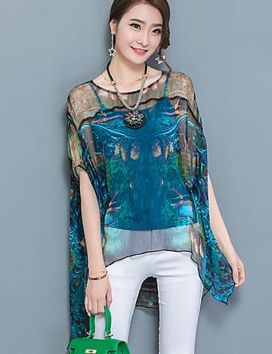 Mulheres Blusa - Para Noite Moda de Rua Camadas / Com Transparência / Estampado / Verão