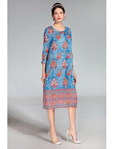 여성용 귀여운 루즈핏 드레스 - 컬러 블럭 자수장식 동물 미디