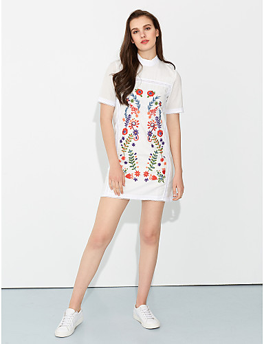 Women's Cotton Sheath Dress - Embroidered Crew Neck