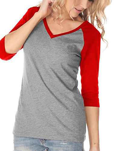 여성 컬러 블럭 V 넥 티셔츠,캐쥬얼 스트리트 쉬크 일상 데이트 홀리데이 폴리에스테르 봄 가을 중간