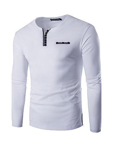 Homens Camiseta Sólido Decote V