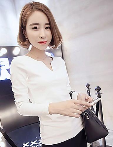 여성 솔리드 V 넥 긴 소매 티셔츠,단순한 캐쥬얼/데일리 면